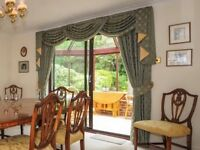Fully lined, beautifully thick, full length curtains with tie backs - pair 1 of 2