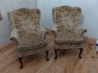 2x Parker Knoll wingback armchairs