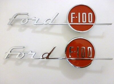 1955 FORD F100 HOOD EMBLEM SET HAUBENEMBLEME SEITE MOTORHAUBE F-100