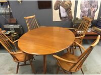 Ercol Goldsmiths Beech and Elm Drop leaf table and four carver chairs
