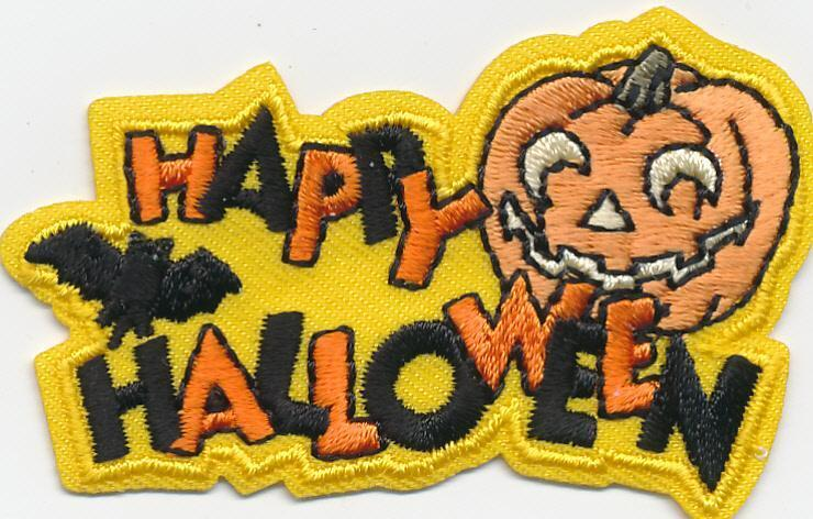 Girl Boy Cub HAPPY HALLOWEEN Pumpkin yellow Fun Patches Crests Badge SCOUT GUIDE