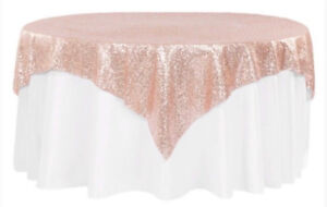 Rose Gold Blush Sequin Tablecloths Wedding or Party
