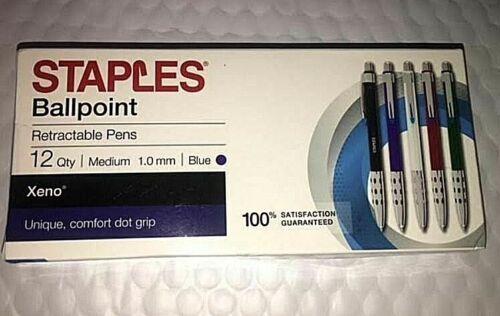 Staples Xeno Retractable Ballpoint Pens, Medium Point 1.0mm, Blue Ink, Dozen