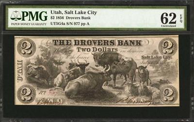 Salt Lake City  Utah  The Drovers Bank  July 1  1856   2   Pmg Unci    Lot 90024