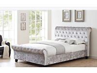 Crushed velvet sleigh bed - (takes standard double mattress)