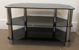 Black glass TV stand - excellent condition, must go ASAP