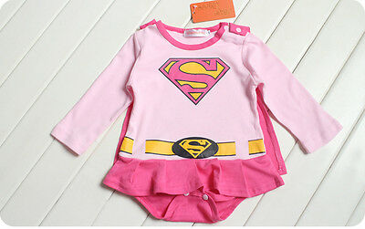 Baby Toddler Super Girl Costumes Tracksuit Fancy Dress Romper Size 3-24months  - Baby Toddler Costumes