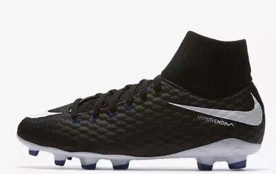 62455aa9dfa8 NEW NIKE JR HYPERVENOM PHELON 3 DG FG Kids BLACK Football Boots SIZE UK 4.5