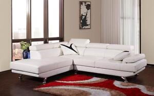 WHITE AND BLACK BONDED LEATHER ADJUSTABLE HEADREST SECTIONAL