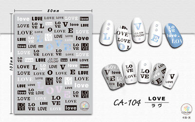 Assorted Letter Nail Art Transfer Stickers Decals Decoration Love Heart (Love Letter Art)