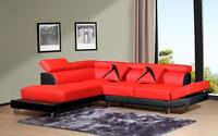 Liquidation red white sectional available in both side
