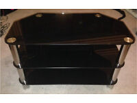 BLACK GLASS & SILVER TV UNIT
