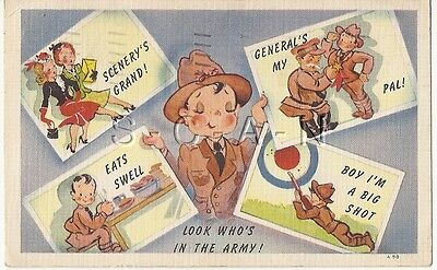 WWII Original 1940s Linen Army Comic PC- Look Who's is in the Army- Rifle- Girls