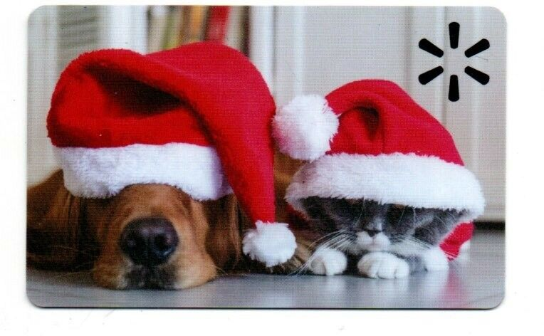Walmart Cute Sleepy Dog & Cat Christmas Gift Card No $Value Collectible FD102158