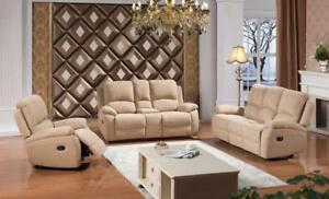 Fabric Recliner 3pc Couch Set in Beige -ME01 6965 (BD-1387)