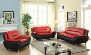 LEATHER COUCHES FOR SALE | SMALL RED SOFA | SOFAS (BD-1233)