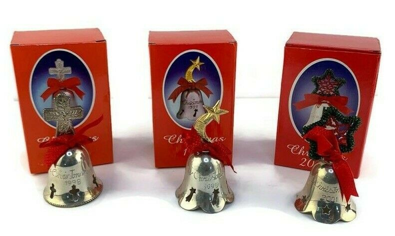 Lot 3 Silverplated Engraved Christmas Bell Ornaments International
