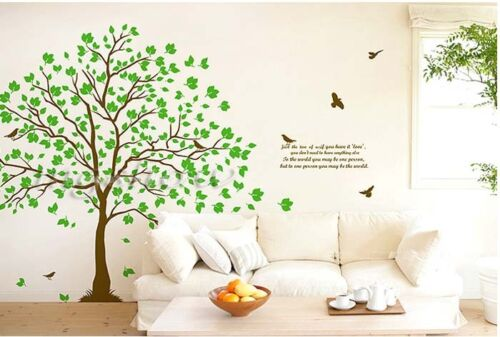 Removable Green Tree Branch & Bird Wall Sticker Decal Girls Room Home Decor DIY
