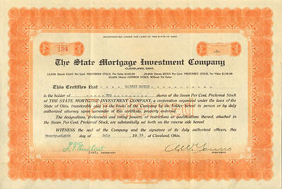 State Mortgage Investment Company   1926 Cleveland Ohio Stock Certificate  134