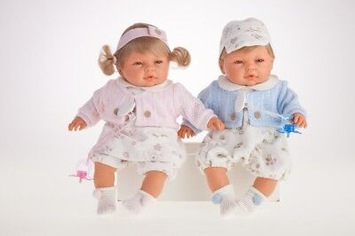 Traumdolls Antonio Juan Babypuppe Bimba y Bimbo 37 cm rosa Spielpuppe Puppen