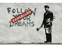 Banksy Poster Follow Your Dreams Cancelled Street Art A2 Paper Laminated Encapsulated Print Graffiti