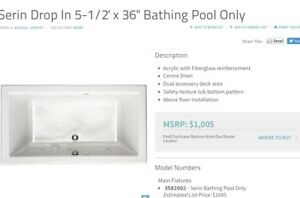 """Bathtub for sale.  5 1/2' x 36"""".  Spotlessly clean.  Like new."""