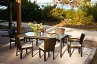Outdoor Patio Set! Aluminum + Wicker! Table + 6 Chairs!