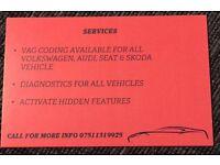VAG CODING/ADAPTATIONS VW AUDI SEAT SKODA DIAGNOSTICS