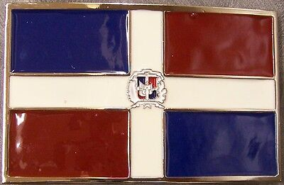 Pewter Belt Buckle National Flag of the Dominican Repiblic (Flag Pewter Belt Buckle)
