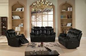 Sleek and Stylish Recliner Sofa Set With Love-seat in Black on Sale (ME1109)