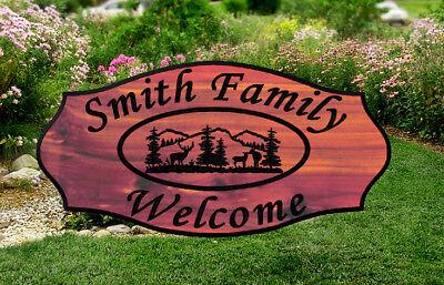 Custom Carved Cabin Wood Sign Rustic Plaque Redwood or Aromatic Cedar