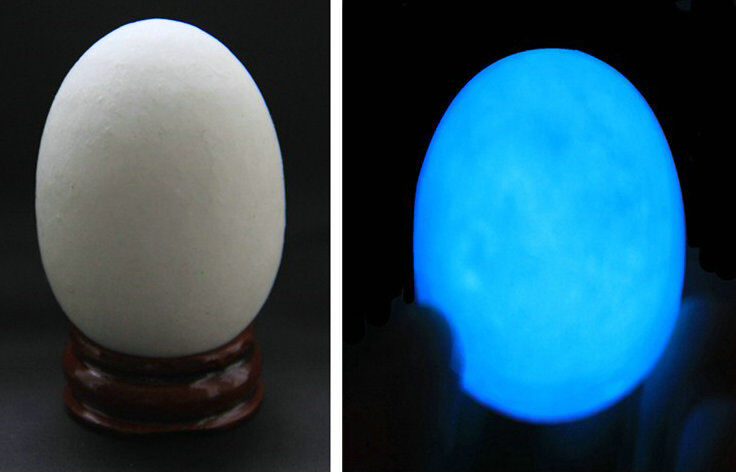 "90g ""Glow In The Dark"" Quartz Crystal Sphere Egg - Blue Luminous! + Stand"