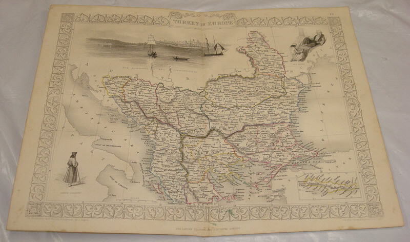 1855 CRIMEAN WAR Map/COLOR/TURKEY IN EUROPE
