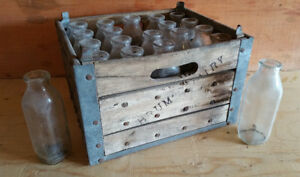 Primitive Wood & Metal Dairy Farm Case /w 20 Bottles