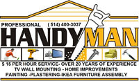 PROFESSIONAL HANDYMAN SERVICES $15 PER HOUR-PAINTING PLASTERING-