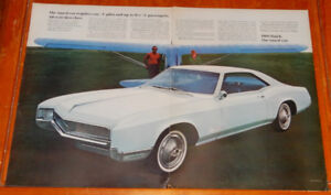 LARGE 1966 BUICK RIVIERA VINTAGE GM AD - ANONCE RETRO 1960S