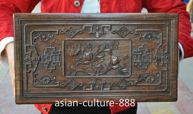 """16"""" Chinese Huanghuali Wood carved Dragon Peach Lucky Casket Jewelry Box Boxes"""