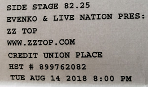 (Sold) ZZ Top tickets
