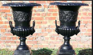 "Pair  20"" Lion Head Cast iron Urns or w/ Pedestals Holiday decor"