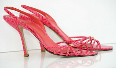 Authentic Gianni Versace Pink Strappy Heels Sandals Size 38 Made in Italy
