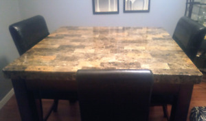 Bar height faux marble table