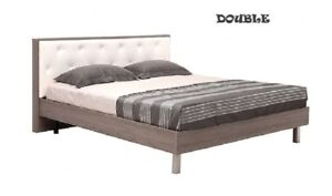 DOUBLE SIZE BED FRAME IN WOOD AND WHITE HEADBOARD FOR SALE