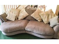 Large 4 seater shaped DFS sofa