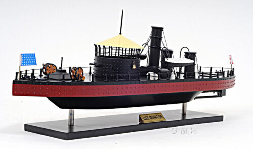 "USS Monitor Civil War Ironclad Wooden Ship Scale Model 24"" US Navy Warship Boat"