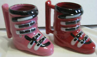 2 SKI Boot - Mugs :  His + Hers -- Chalet Collectibles