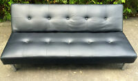 Black Faux Leather Couch and Futon