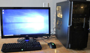 Gaming computer PC Core i5 4670K R9 390X 8GB GPU 24 inch Monitor