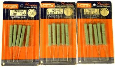 Resistor Power 1000-ohm 7-watt - Mallory 7m0l1000 - Unused Nos - Qty20