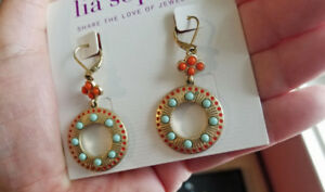 New on card lia sophia earrings. Watermelon & robin's egg blue!