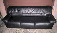 Great Real Leather Black 3-seater Couch,excellent cond, deliv $$